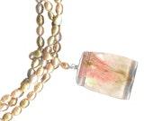 chunky statement three strand necklace freshwater mauve pearl quartz pendant