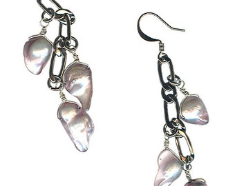heavy chain gunmetal or antique brass gray blister pearl earrings