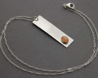 Sterling Silver Peach Moonstone Rectangle Necklace, Hammered, .925, Handmade