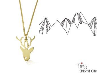 Tiny Deer Necklace, minimalist pendant charm jewelry, girls children kids jewelry, christmas gift