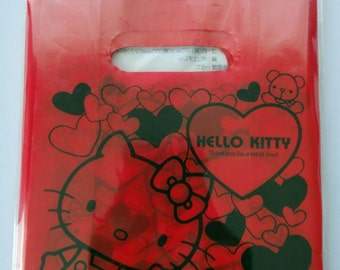 Sanrio Hello Kitty Red Hearts Mini Plastic Carrier Bags / Party / Gift Bags  - Pack Of 15