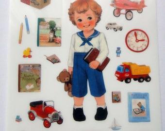 Cute Schoolboy & Toys Plastic Stickers From Korea - Car, Radio, Lunchbox, Plane, Clock, Book, Pencil, Teddy Bear, Truck, TV, Bus, Sailor