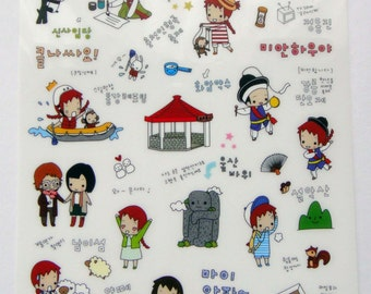 Cute Little Red Haired Girl Plastic Travel Stickers From Korea - Korean Theme - Calligraphy, Sailor, Temple, Panda, Monkey, Kimchi Noodles