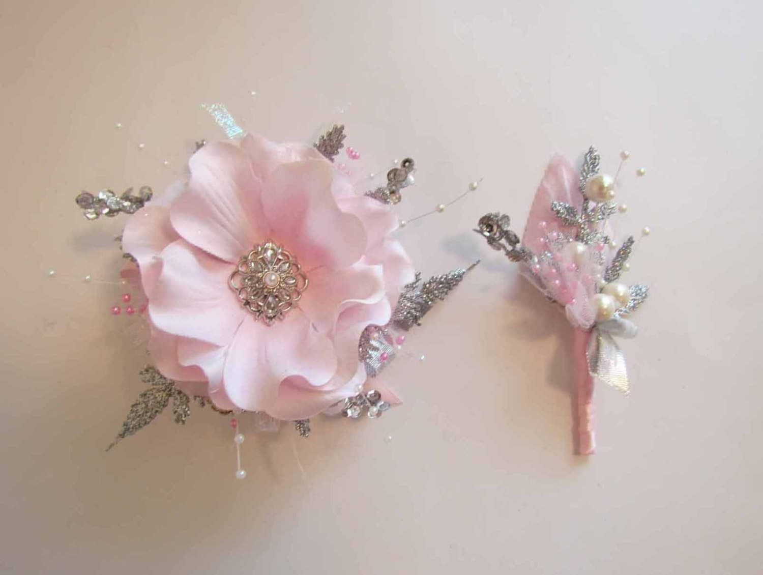 SALE PRICED Light Pink Prom Corsage & Boutonniere