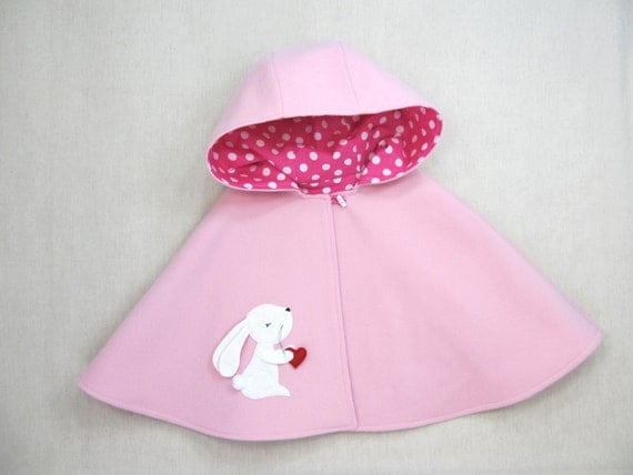 Bunny Capelet, Cape, Bunny, Girl, Handmade, Gift,  RESERVED
