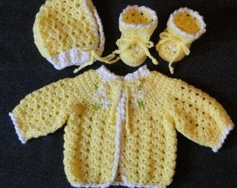 Crochet Newborn Sweater Set Pattern - Sweater Bonnet & Booties - PDF Pattern 221 - Instant Download