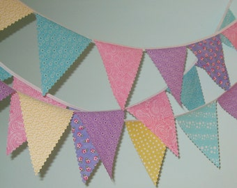 Mini pennant fabric banner -Spring- childrens decor, party decor or photo prop