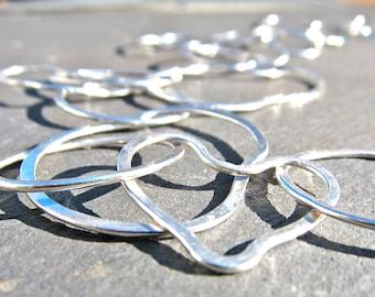 Hammered, Handmade Argentium Sterling Silver, Organic Valentine Heart Link Chain