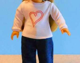 White Tee with Red Bling Heart and Boutique Jeans - 18 Inch Doll Clothes