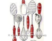 Vintage Kitchen Utensils in Red 8x10 kitchen art print
