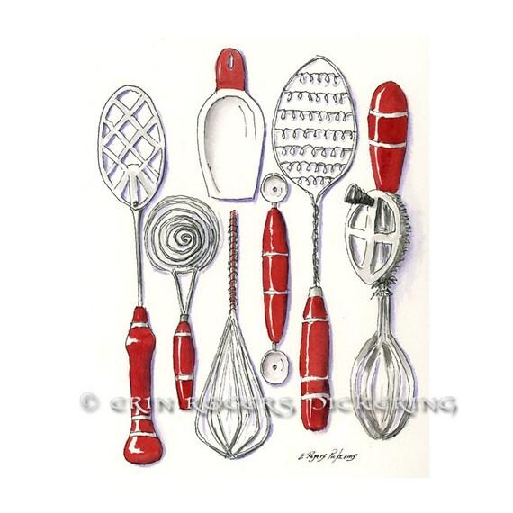 Kitchen Art Red: Vintage Kitchen Utensils In Red 8x10 Kitchen Art Print