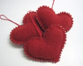 Trio of Red Beaded Heart Valentine Decoration Ornaments Handmade from Wool Felt (no.269)