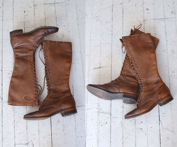 1940s Boots Leather Lace Up Boots Land Girl Boots
