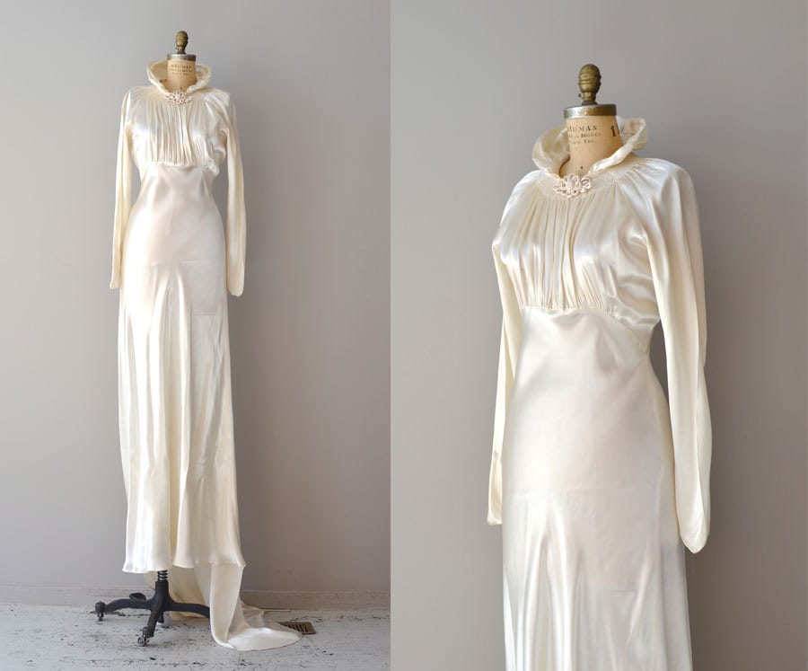 1930s Wedding Dress Vintage 30s Dress Cascata By