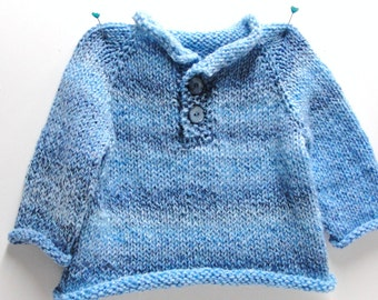"Pullover baby sweater- ''Blue Skies"" long sleeves, hand knit, two-button pullover fits up to 18 montths"