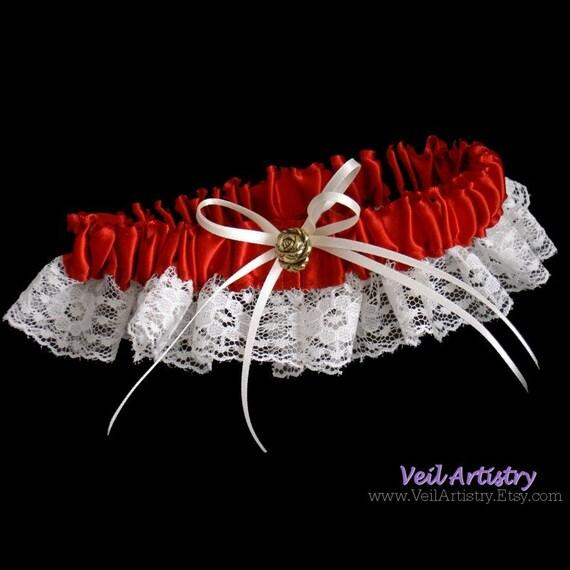 Bridal Garter, Toss Garter, Golden Rose Garter, Ribbon Garter, Lace Garter, Satin Ribbon Garter, Made-To-Order Garter, Custom Garter
