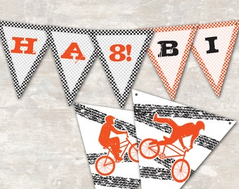 "PRINT & SHIP Bmx Dirt Bike Birthday Party Pennant Banner (""Happy 1st Birthday"") >> personalized and shipped to you 
