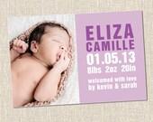 custom baby boy or girl photo birth announcement violet purple - HENRY violet