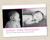 pink printable custom baby boy or girl photo birth announcement - newborn, pink, girl - enzo magenta