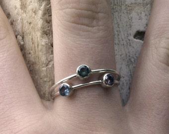 stacking rings Sterling Silver Gemstone stackable rings, gemstone  birthstone rings  Stacking Ring Set France