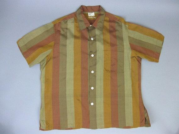 Vintage 50s mens christian dior silk stripe shirt button for Christian dior button up shirt
