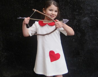 The Sofia Dress - Girls Dress in White with Red Velvet Heart and Peter Pan Collar - Valentines Day Kids Fashion