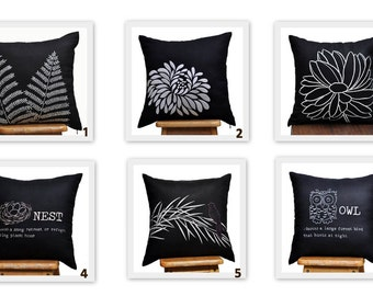 Black Throw Pillow Cover, Mix Match Pillow Cover set of 2, Black Linen White Grey Floral Embroidery, Floral Cushion, Flower Toss Pillow