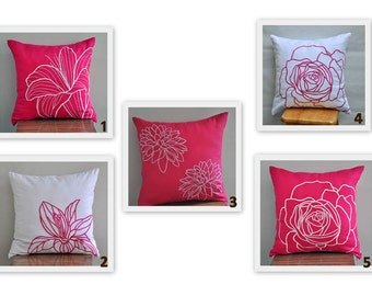 Pink White Pillow Cover Set of 2, Mix and match pillow, Fuchsia Flower Pillow, White Floral Pillow, Decorative Pillow, Modern home decor