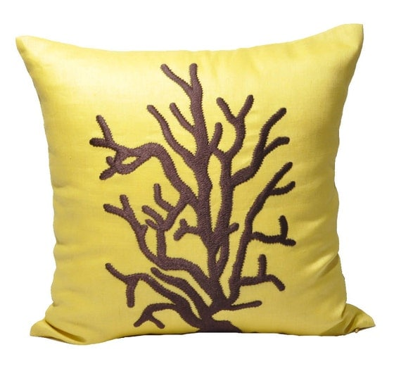 Items similar to Coral Decorative Pillow Cover, Throw Pillow Yellow Linen Pillow, Dark Brown ...