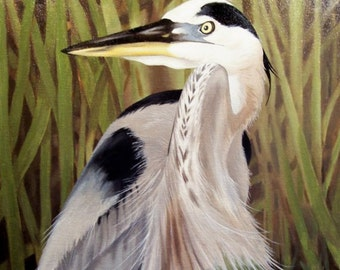 Oil Painting Original Painting Art-Great Blue Heron on canvas home office