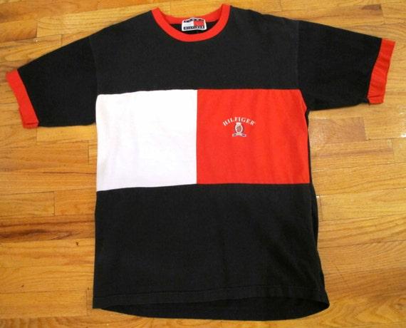 90s tommy hilfiger color block t shirt. Black Bedroom Furniture Sets. Home Design Ideas