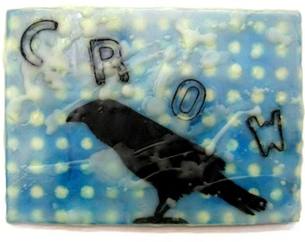 Beeswax Encaustic Collage of Crows on blue Painting