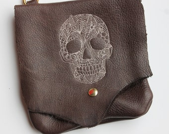 Leather Hip Bag with Machine embroidered skull