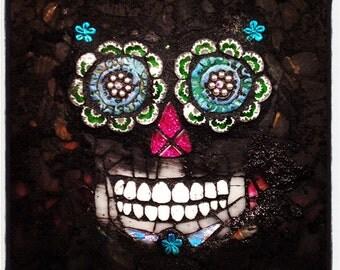 WIP Day of the Dead Sugar Skull mosaic PRINT 11x14