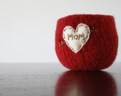 """wine red felted wool bowl with cream heart and """"mom"""" embroidered in brown cotton  - mom tattoo- Mother's day - jewelry bowl"""