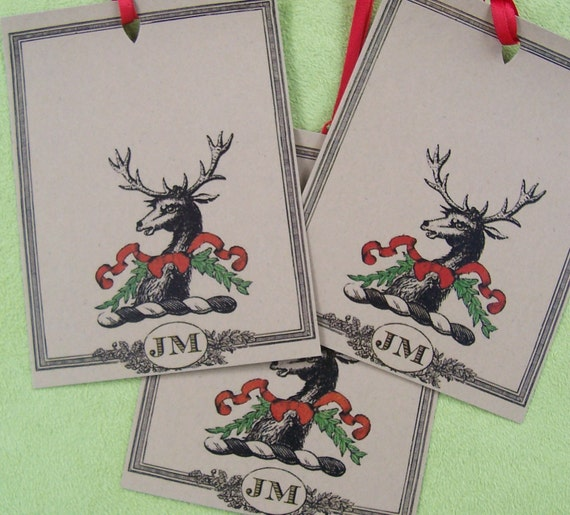 Personalized Christmas Gift Tags: Items Similar To Personalized Christmas Gift Tags , Deer