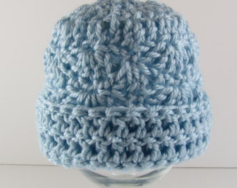 Preemie Hat with Rolled Brim Soft Blue, Ready to Ship, Direct Checkout