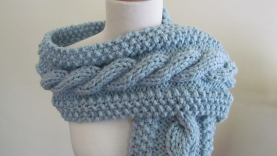 Free Knitting Pattern Chunky Cable Scarf : Knit Scarf Womens Scarf Winter Scarf Chunky by pegsyarncreations