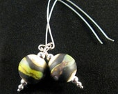 Raku Ivory Lampwork and Silver earrings