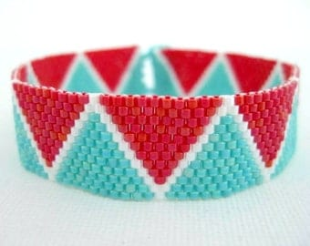 Peyote Pattern - Zig-Zag Summer - INSTANT DOWNLOAD PDF - Peyote Stitch Bracelet Pattern - Peyote Triangle Pattern - Geometric Pattern