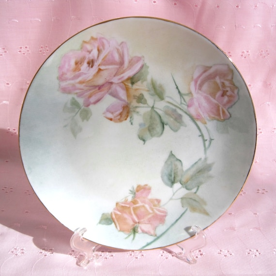 Pink Roses Handpainted China Plate