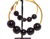 Gold Hoop Earrings with Black Beads