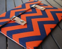 Microsoft Surface Pro 4 Case / Asus Chromebook Flip Case / Asus Zenbook Case / Microsoft Surface Book Case - Chevron Navy Blue and Orange