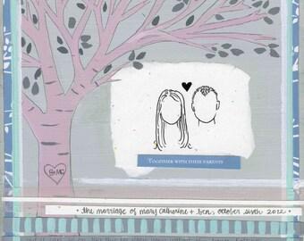 CUSTOM Mixed Media Wedding Collage/Painting-DEPOSIT