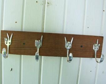 Vintage Fork Hooks Coat Rack Peace x Love x Rock On x Fork you