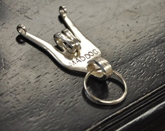 Curled Personalized Rock On Silver Fork Key Chain