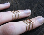 Brass Chevron Knuckle Ring (set of 3)