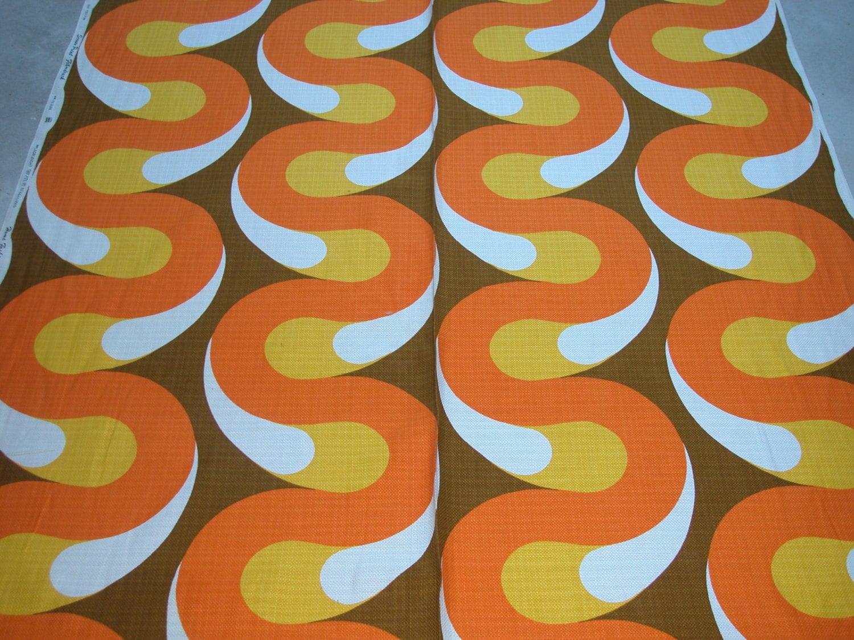 Fabric original 1970s retro vintage screenprint panton era for Retro fabric