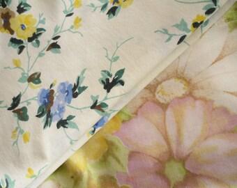 Vintage Floral Pillowcases, Flower Pillow Cases, Two Floral Designs, Floral Pillowcases: Standard Size Cases, Vintage Bedding, Mismatched