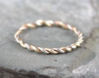 Yellow and White Gold Band - Twist Band - 14K White and Yellow Gold Ring - Stacking Ring - 14K Yellow and White Gold Wedding Band
